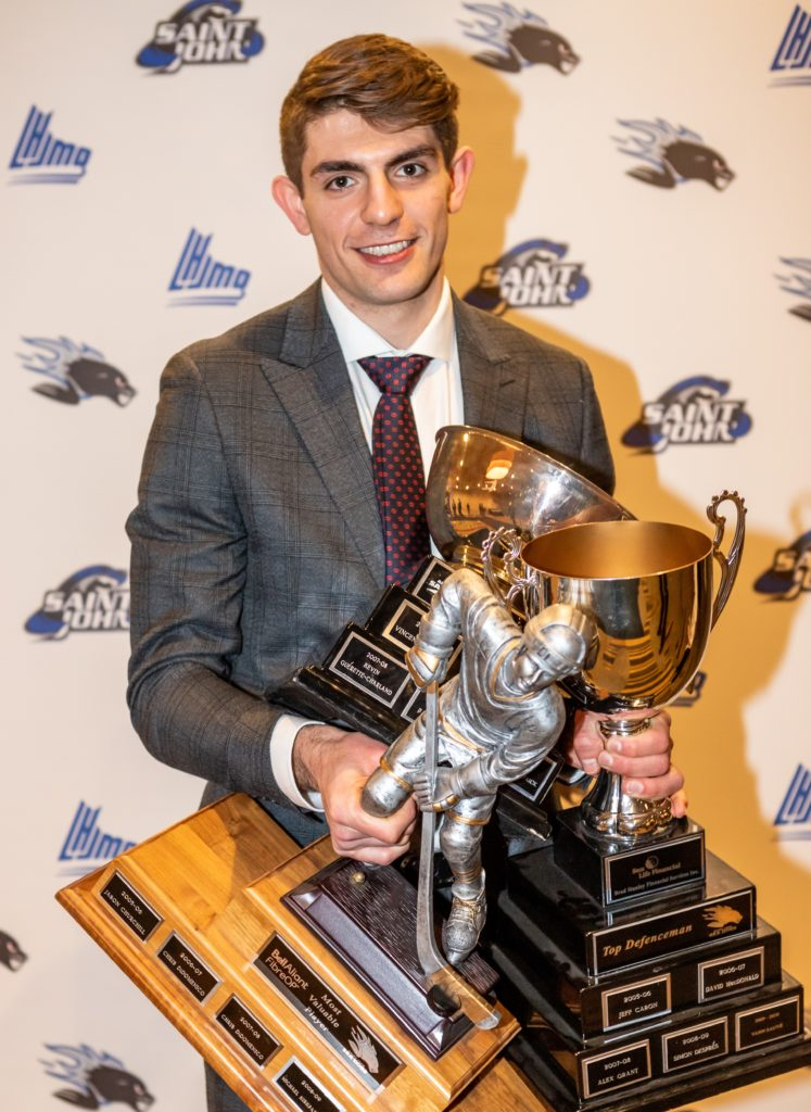 Campoli took home the Bell Aliant MVP, Sun Life Financial - Brad Stanley Financial Services Top Defenceman Award and Saint John Airport Top Academic Player Award during Monday's Sea Dogs Award Banquet.